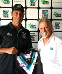 Matthew Primus and Bill Vis at the Announcement of V.I.P. becoming the Joint Major Sponsor fo the Port Adelaide Football Club