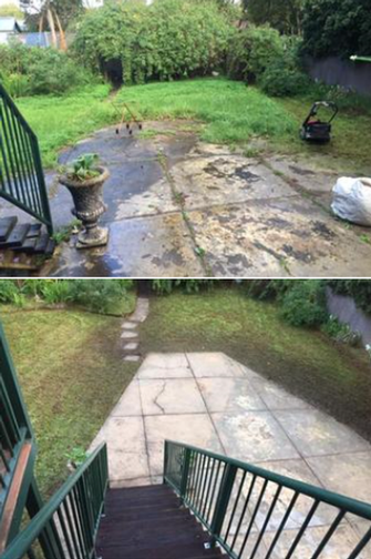 Lawn Mowing & High Pressure Cleaning - before and after - What a difference cleaned pavement can make to the overall look.