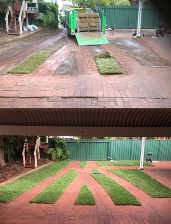 Lawn Installation - before & after - The customer was very happy with the end results. What a difference a nice green lawn makes to this area.