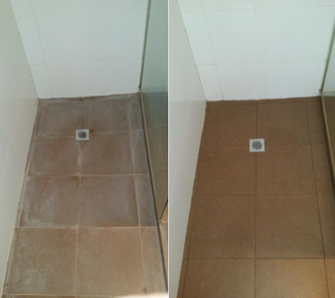 Shower Floor clean - before & after - I can remove the Calcium haze from your shower floor.