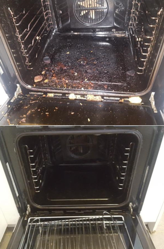 Oven Clean - before & after