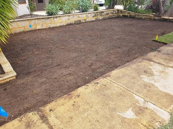 old lawn removed and ground prepared in Floreat