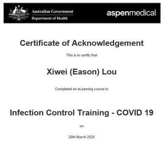 GOVERNMENT INFECTION CONTROL CERTIFIED (COVID-19) MARCH 2020