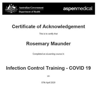 GOVERNMENT INFECTION CONTROL CERTIFIED (COVID-19) APRIL 2020