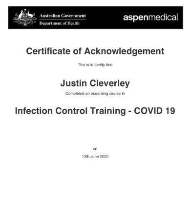GOVERNMENT INFECTION CONTROL CERTIFIED (COVID-19) JUNE 2020