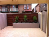 Transformation complete - The finished product of the rear yard which started out as just a lawn but turned into a rear oasis with paving, lighting, irrigation, rendered garden bed, plants and timber slat wall.
